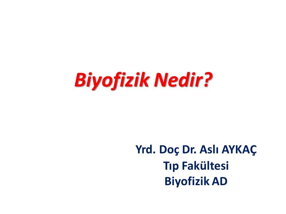 Biyofizik Nedir? Yrd. Doç Dr. Aslı AYKAÇ Tıp Fakültesi Biyofizik AD