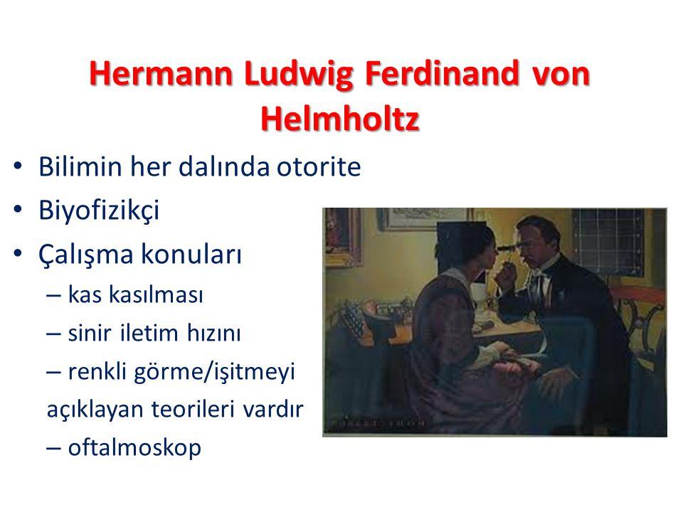 Hermann Ludwig Ferdinand von Helmholtz Bilimin her dalında otorite Biyofizikçi Çalışma konuları – kas kasılması – sinir iletim hızını – renkli görme/i