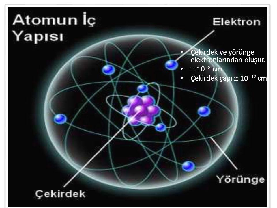 Çekirdek ve yörünge elektronlarından oluşur.  10 -8 cm Çekirdek çapı  10 -12 cm