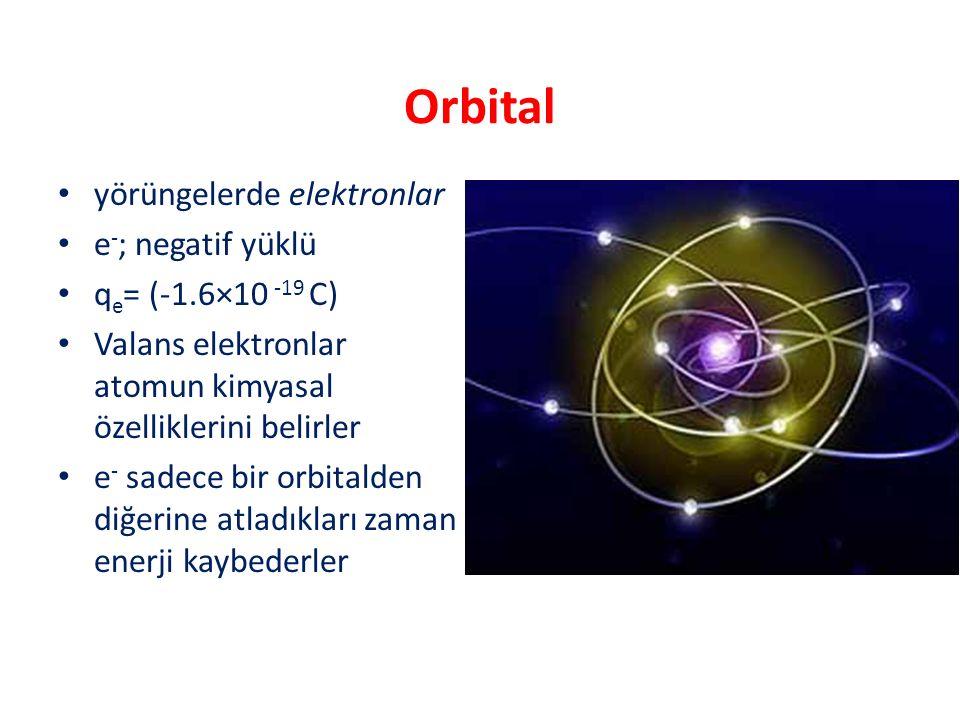 Orbital yörüngelerde elektronlar e - ; negatif yüklü q e = (-1.6×10 -19 C) Valans elektronlar atomun kimyasal özelliklerini belirler e - sadece bir or