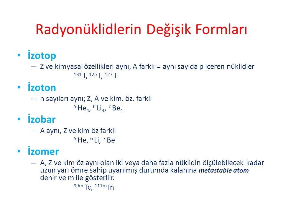 Radyonüklidlerin Değişik Formları İzotop – Z ve kimyasal özellikleri aynı, A farklı = aynı sayıda p içeren nüklidler 131 I, 125 I, 127 I İzoton – n sa