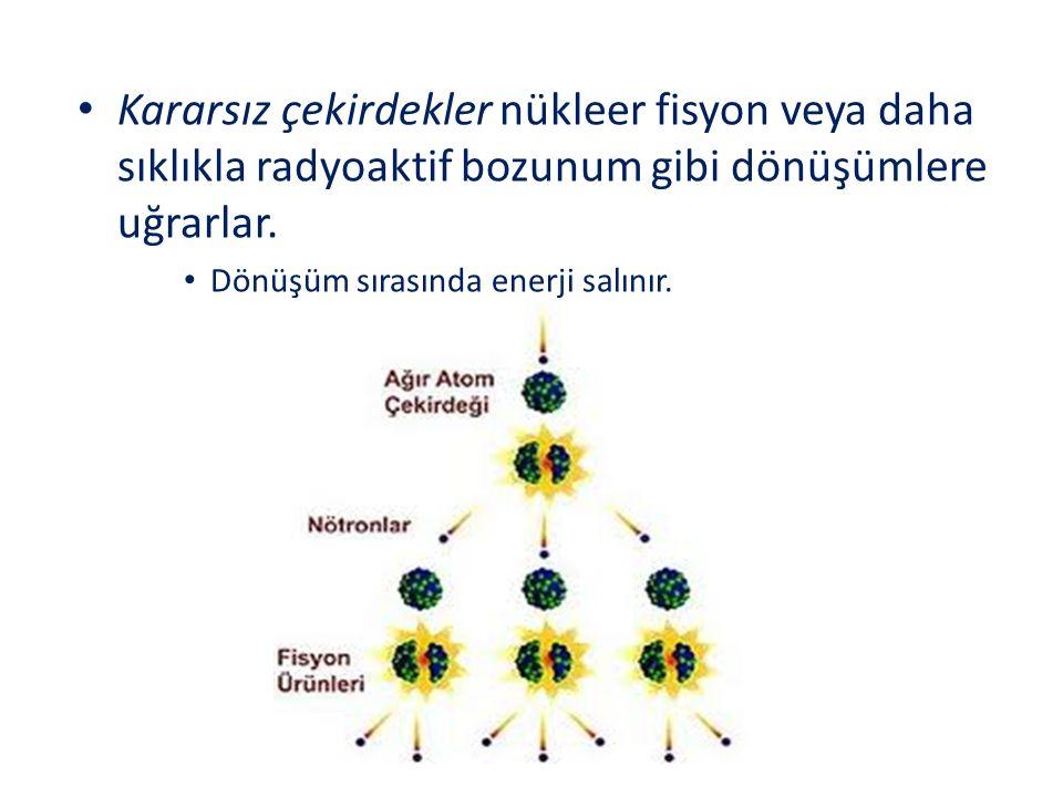Kararsız çekirdekler nükleer fisyon veya daha sıklıkla radyoaktif bozunum gibi dönüşümlere uğrarlar. Dönüşüm sırasında enerji salınır.