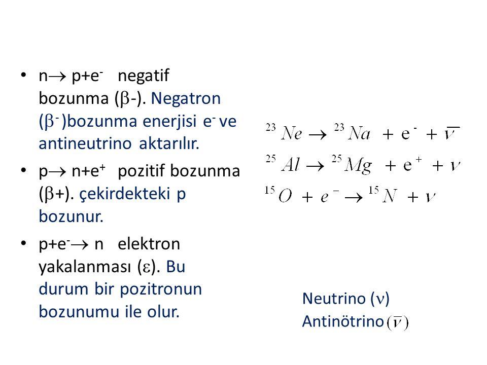 Neutrino ( ) Antinötrino n  p+e - negatif bozunma (  -). Negatron (  - )bozunma enerjisi e - ve antineutrino aktarılır. p  n+e + pozitif bozunma (
