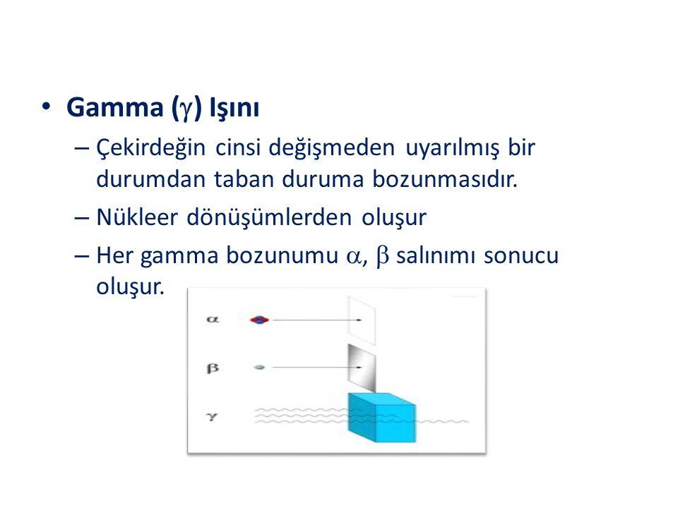 Gamma (  ) Işını – Çekirdeğin cinsi değişmeden uyarılmış bir durumdan taban duruma bozunmasıdır. – Nükleer dönüşümlerden oluşur – Her gamma bozunumu