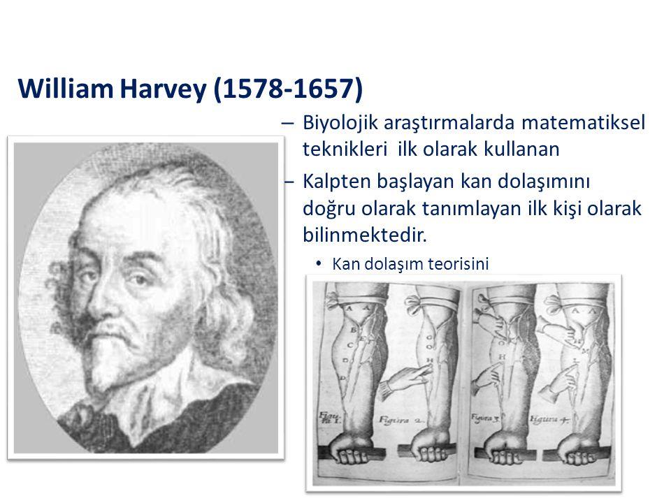 William Harvey (1578-1657) – Biyolojik araştırmalarda matematiksel teknikleri ilk olarak kullanan – Kalpten başlayan kan dolaşımını doğru olarak tanım