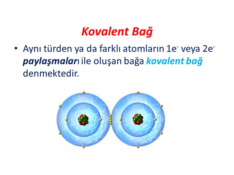 Kovalent Bağ Aynı türden ya da farklı atomların 1e - veya 2e - paylaşmaları ile oluşan bağa kovalent bağ denmektedir.