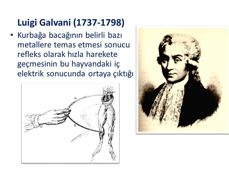 Luigi Galvani (1737-1798) Kurbağa bacağının belirli bazı metallere temas etmesi sonucu refleks olarak hızla harekete geçmesinin bu hayvandaki iç elekt
