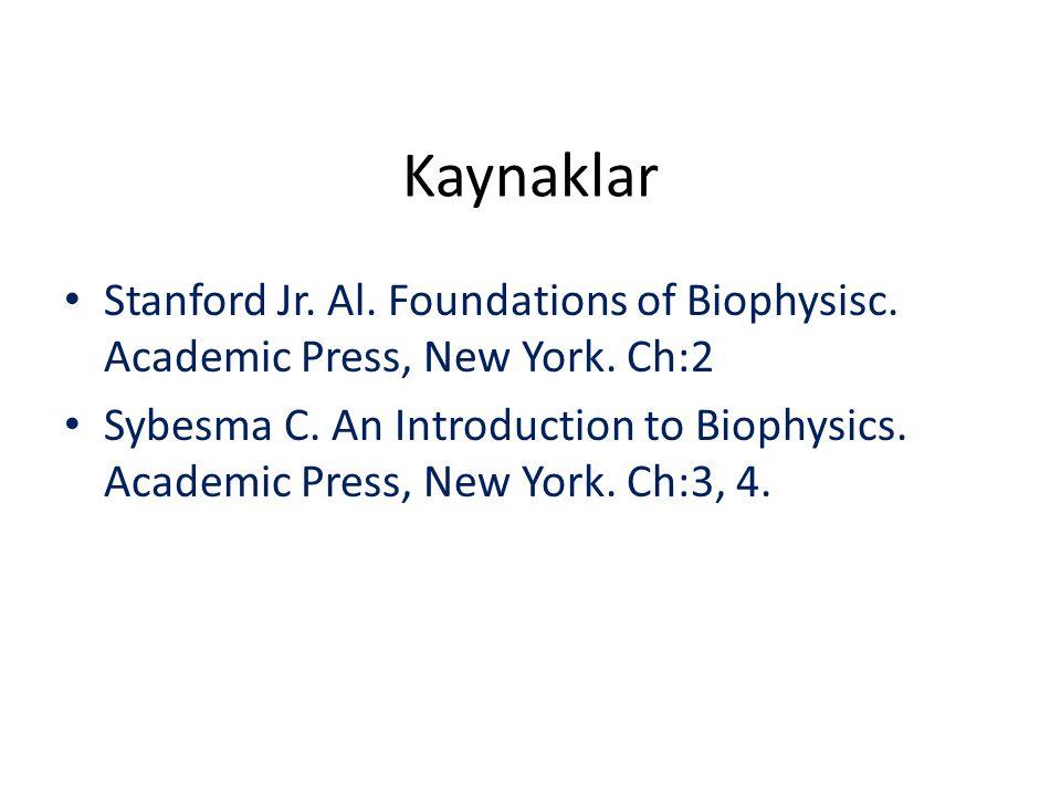 Kaynaklar Stanford Jr. Al. Foundations of Biophysisc. Academic Press, New York. Ch:2 Sybesma C. An Introduction to Biophysics. Academic Press, New Yor