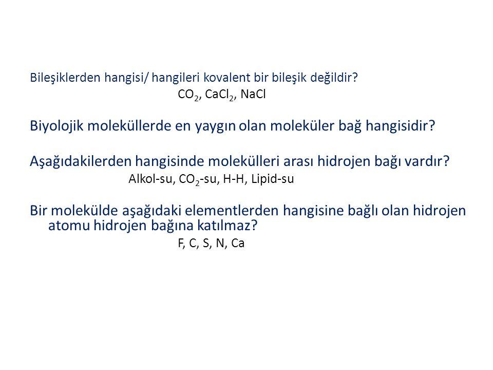 Bileşiklerden hangisi/ hangileri kovalent bir bileşik değildir? CO 2, CaCl 2, NaCl Biyolojik moleküllerde en yaygın olan moleküler bağ hangisidir? Aşa