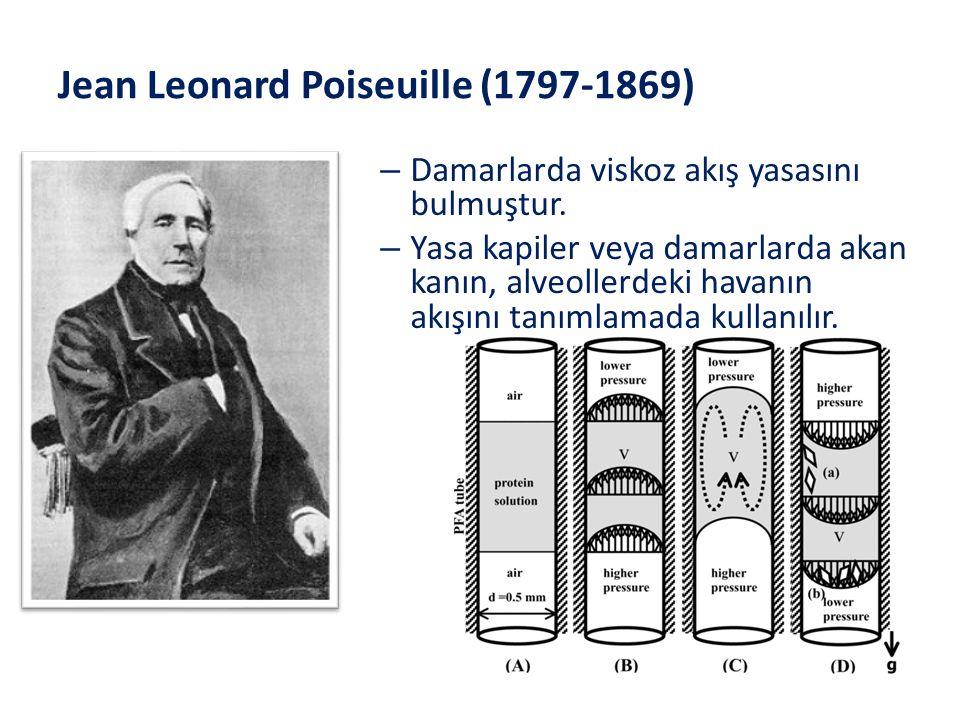 Jean Leonard Poiseuille (1797-1869) – Damarlarda viskoz akış yasasını bulmuştur. – Yasa kapiler veya damarlarda akan kanın, alveollerdeki havanın akış