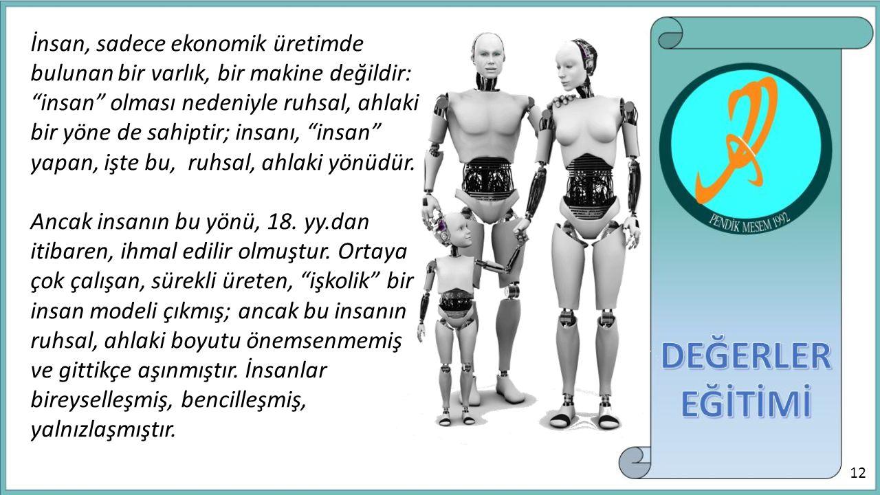 """İnsan, sadece ekonomik üretimde bulunan bir varlık, bir makine değildir: """"insan"""" olması nedeniyle ruhsal, ahlaki bir yöne de sahiptir; insanı, """"insan"""""""