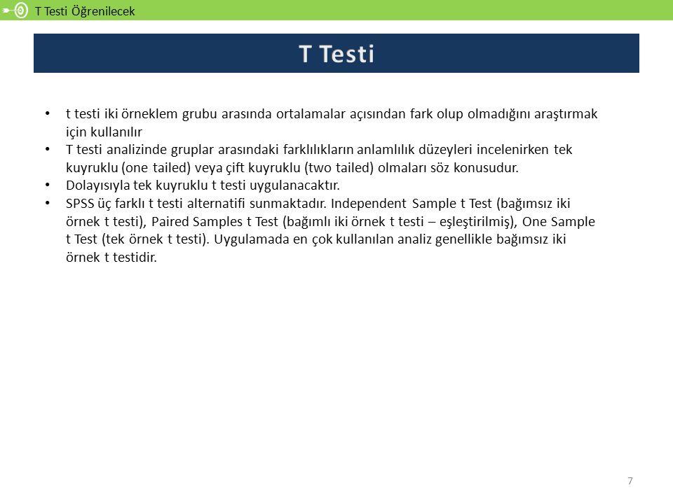 T Testi Öğrenilecek 7 t testi iki örneklem grubu arasında ortalamalar açısından fark olup olmadığını araştırmak için kullanılır T testi analizinde gru