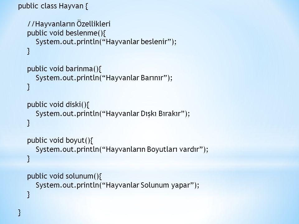 public class Hayvan { //Hayvanların Özellikleri public void beslenme(){ System.out.println( Hayvanlar beslenir ); } public void barinma(){ System.out.println( Hayvanlar Barınır ); } public void diski(){ System.out.println( Hayvanlar Dışkı Bırakır ); } public void boyut(){ System.out.println( Hayvanların Boyutları vardır ); } public void solunum(){ System.out.println( Hayvanlar Solunum yapar ); } }