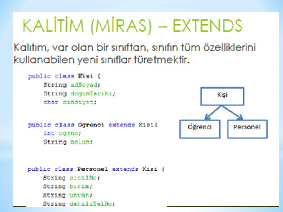 //–MainClass kodların çalıştırılacağı class public class MainClass { //Kullanımları public static void main(String[] args) { Guvercin guvercin=new Guvercin(); Kus kus=new Kus(); guvercin.beslenme(); kus.beslenme(); System.out.println(); guvercin.barinma(); guvercin.boyut(); System.out.println(); kus.boyut(); kus.solunum(); System.out.println(); Balik balik=new Balik(); balik.sudayuzer(); balik.solunum(); System.out.println(); JaponBaligi jb=new JaponBaligi(); jb.solunum(); } }