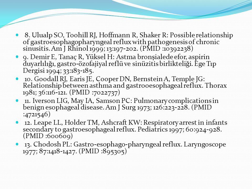 8. Ulualp SO, Toohill RJ, Hoffmann R, Shaker R: Possible relationship of gastroesophagopharyngeal reflux with pathogenesis of chronic sinusitis. Am J