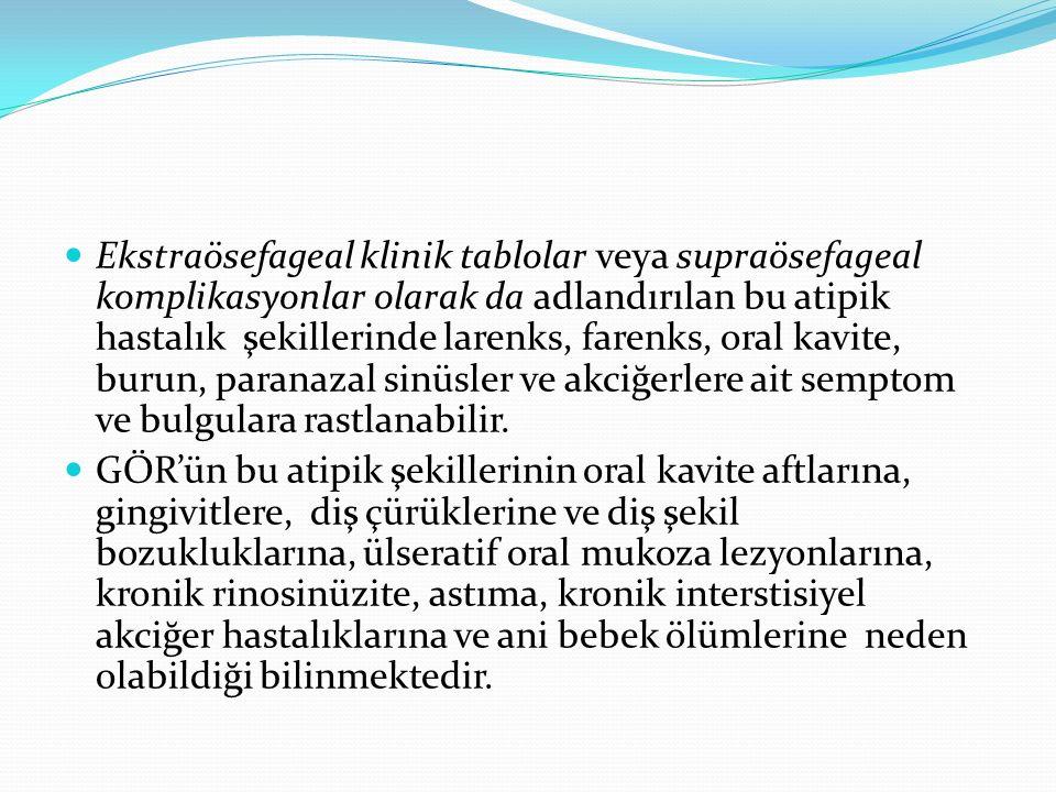 Ekstraösefageal klinik tablolar veya supraösefageal komplikasyonlar olarak da adlandırılan bu atipik hastalık şekillerinde larenks, farenks, oral kavi