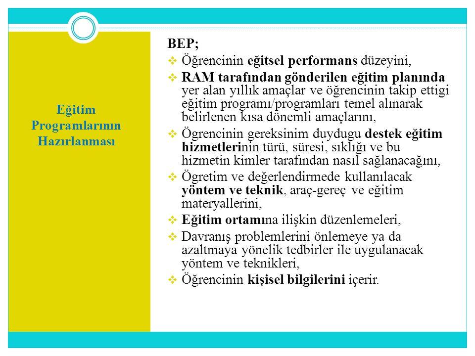 Eğitim Programlarının Hazırlanması BEP;  Öğrencinin eğitsel performans düzeyini,  RAM tarafından gönderilen eğitim planında yer alan yıllık amaçlar