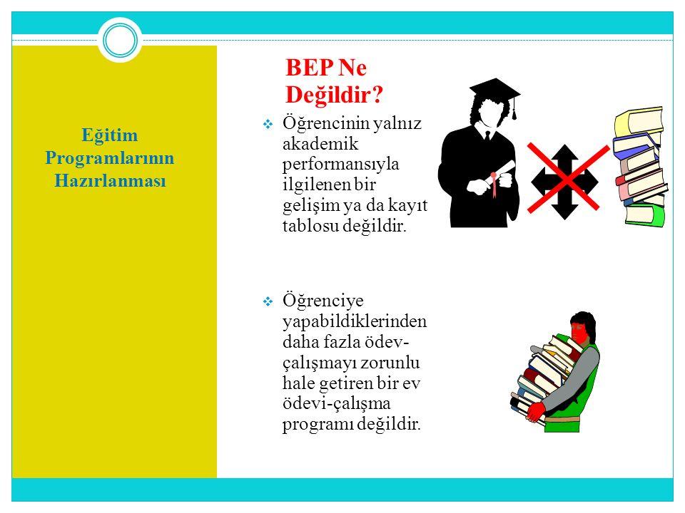 Eğitim Programlarının Hazırlanması BEP Ne Değildir?  Öğrencinin yalnız akademik performansıyla ilgilenen bir gelişim ya da kayıt tablosu değildir. 