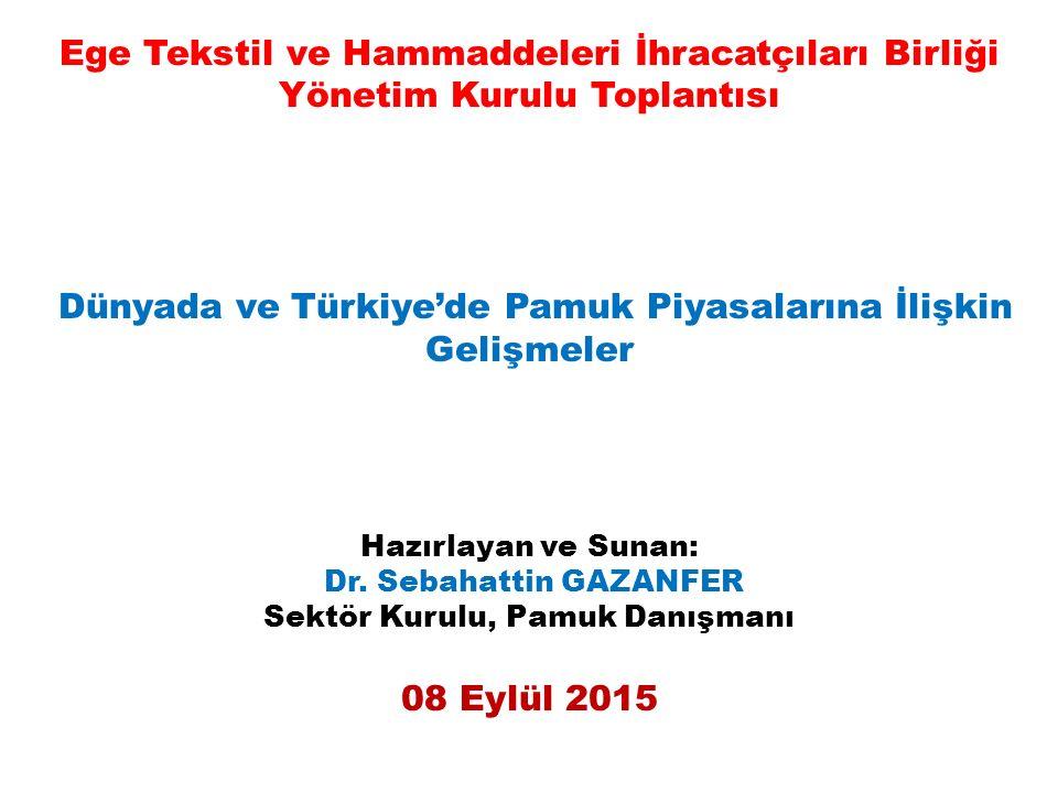 Ege Tekstil ve Hammaddeleri İhracatçıları Birliği Yönetim Kurulu Toplantısı Dünyada ve Türkiye'de Pamuk Piyasalarına İlişkin Gelişmeler Hazırlayan ve Sunan: Dr.