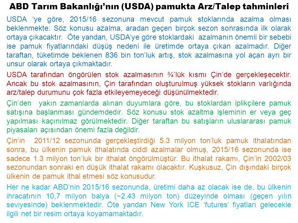 ABD Tarım Bakanlığı'nın (USDA) pamukta Arz/Talep tahminleri USDA 'ye göre, 2015/16 sezonuna mevcut pamuk stoklarında azalma olması beklenmekte: Söz konusu azalma, aradan geçen birçok sezon sonrasında ilk olarak ortaya çıkacaktır.