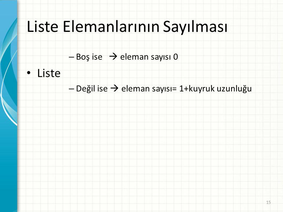 Liste Elemanlarının Sayılması – Boş ise  eleman sayısı 0 Liste – Değil ise  eleman sayısı= 1+kuyruk uzunluğu 15