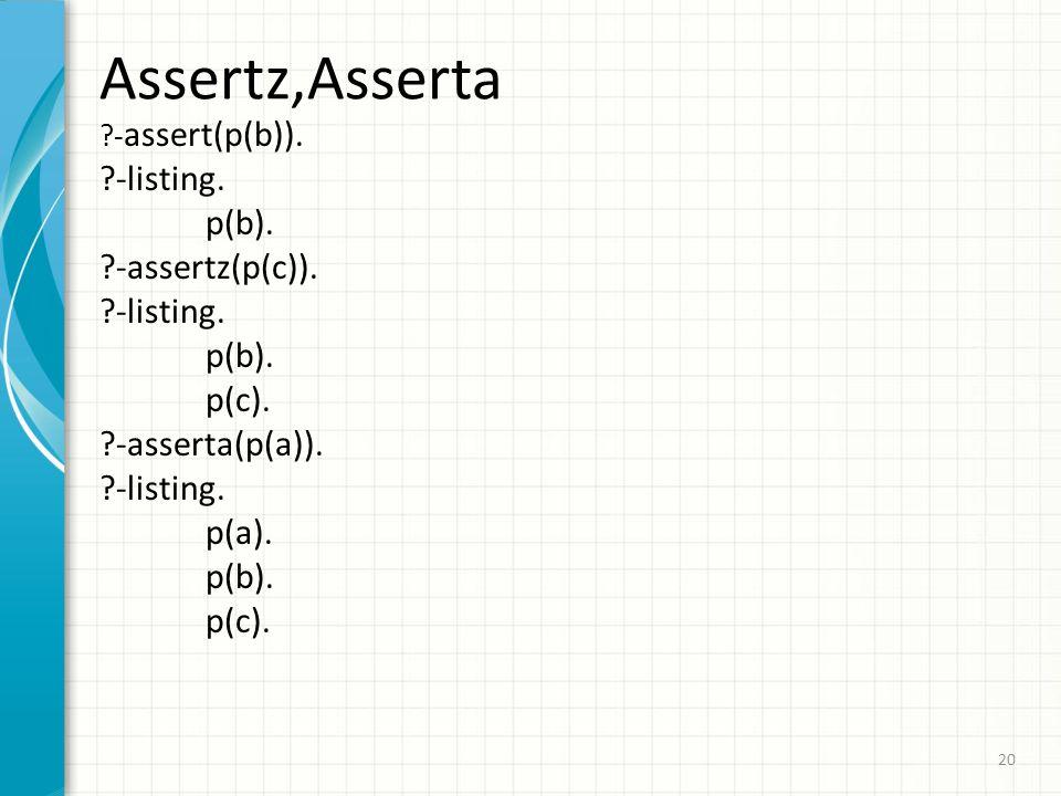 Assertz,Asserta ?- assert(p(b)). ?-listing. p(b). ?-assertz(p(c)). ?-listing. p(b). p(c). ?-asserta(p(a)). ?-listing. p(a). p(b). p(c). 20