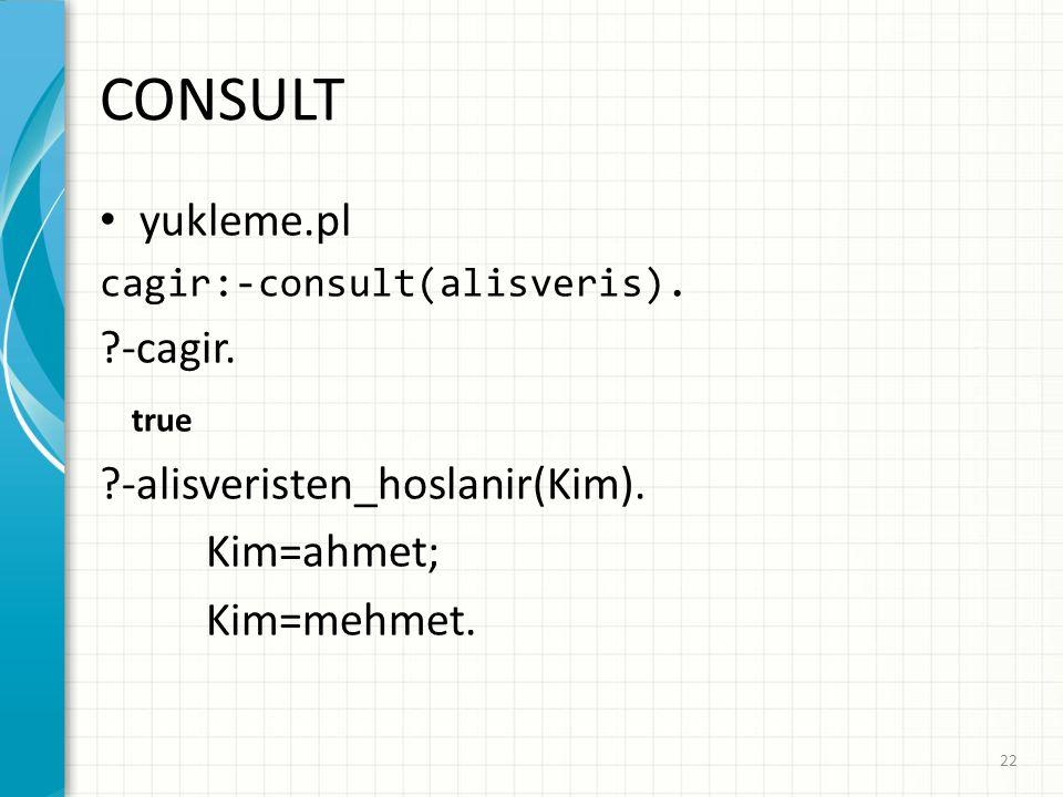 CONSULT yukleme.pl cagir:-consult(alisveris). -cagir.