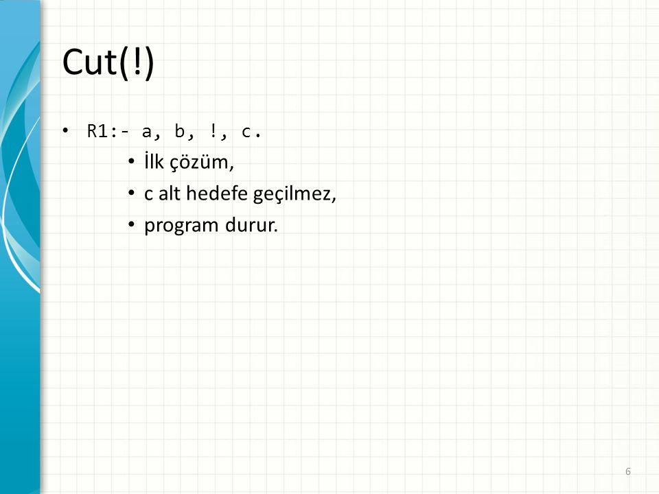 Cut(!) R1:- a, b, !, c. İlk çözüm, c alt hedefe geçilmez, program durur. 6