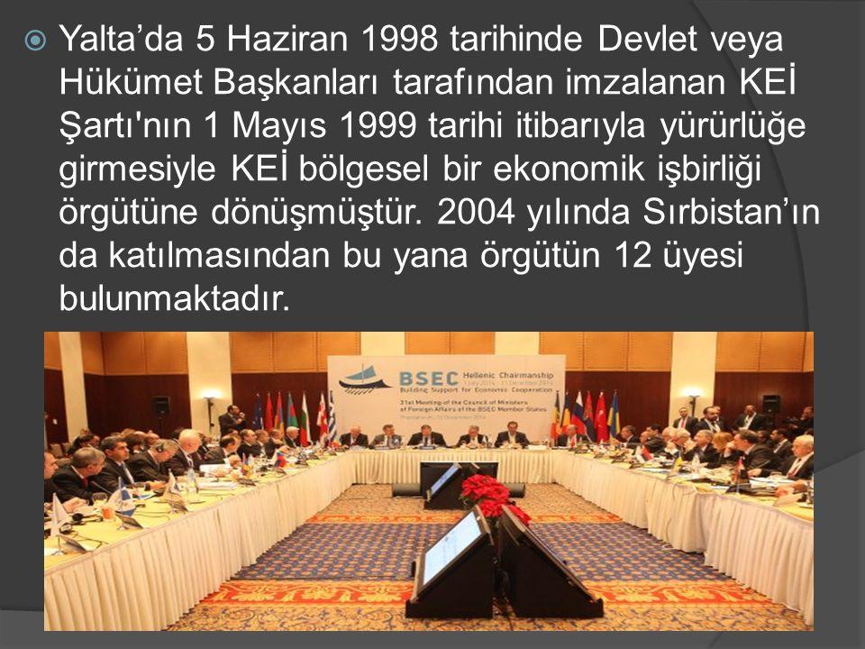  Yalta'da 5 Haziran 1998 tarihinde Devlet veya Hükümet Başkanları tarafından imzalanan KEİ Şartı'nın 1 Mayıs 1999 tarihi itibarıyla yürürlüğe girmesi