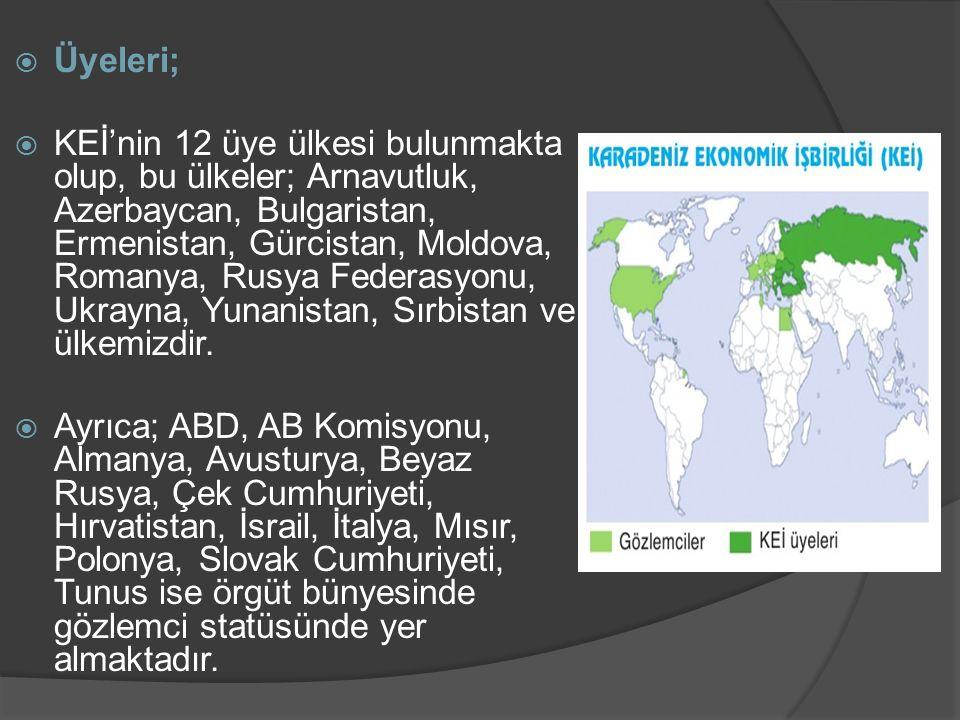 Üyeleri;  KEİ'nin 12 üye ülkesi bulunmakta olup, bu ülkeler; Arnavutluk, Azerbaycan, Bulgaristan, Ermenistan, Gürcistan, Moldova, Romanya, Rusya Fe