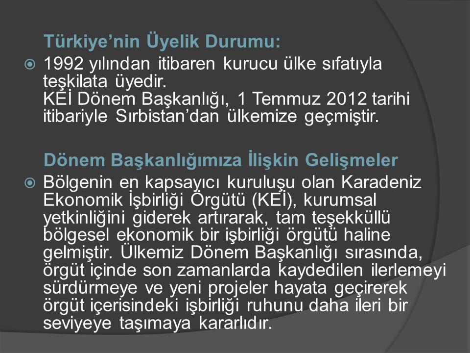 Türkiye'nin Üyelik Durumu:  1992 yılından itibaren kurucu ülke sıfatıyla teşkilata üyedir. KEİ Dönem Başkanlığı, 1 Temmuz 2012 tarihi itibariyle Sırb