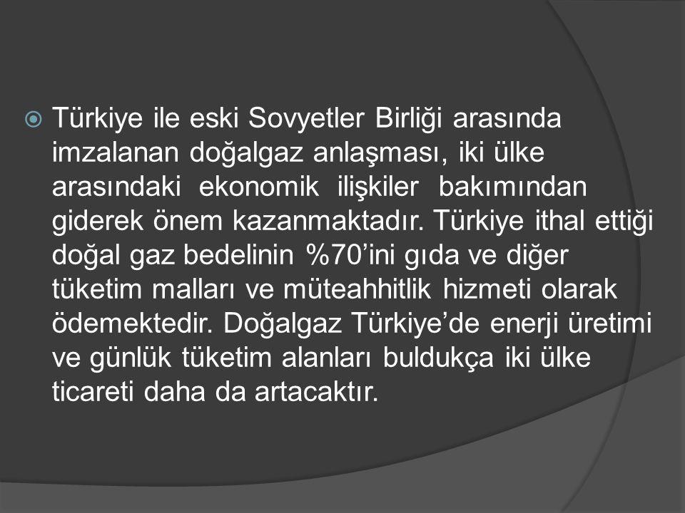  Türkiye ile eski Sovyetler Birliği arasında imzalanan doğalgaz anlaşması, iki ülke arasındaki ekonomik ilişkiler bakımından giderek önem kazanmaktad