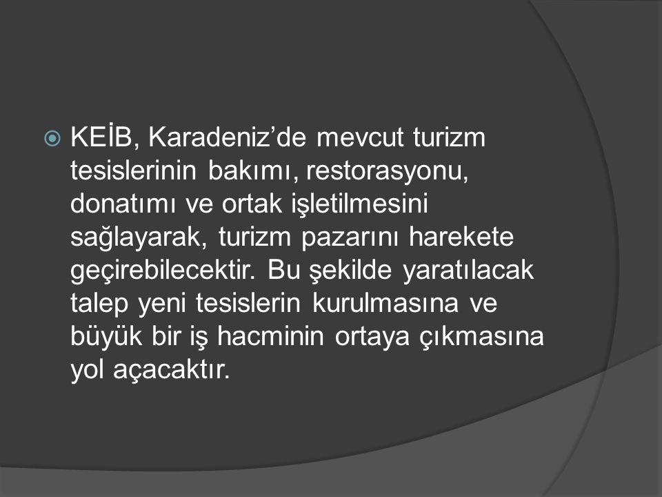  KEİB, Karadeniz'de mevcut turizm tesislerinin bakımı, restorasyonu, donatımı ve ortak işletilmesini sağlayarak, turizm pazarını harekete geçirebilec