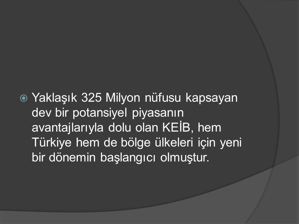  Yaklaşık 325 Milyon nüfusu kapsayan dev bir potansiyel piyasanın avantajlarıyla dolu olan KEİB, hem Türkiye hem de bölge ülkeleri için yeni bir döne
