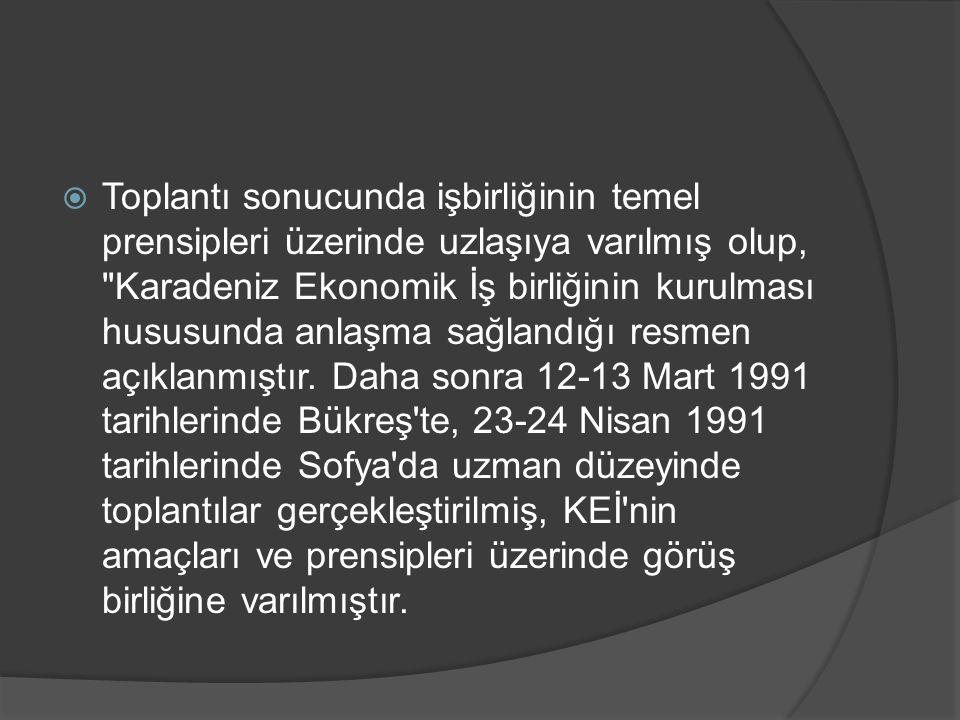  3 Şubat 1992 tarihinde Türkiye'nin ev sahipliğinde gerçekleştirilen toplantıda, Türkiye, Rusya Federasyonu, Romanya, Azerbaycan, Ermenistan, Gürcistan, Moldova, Ukrayna ve Bulgaristan KEİ ile ilgili temel belgeyi parafe etmişlerdir.