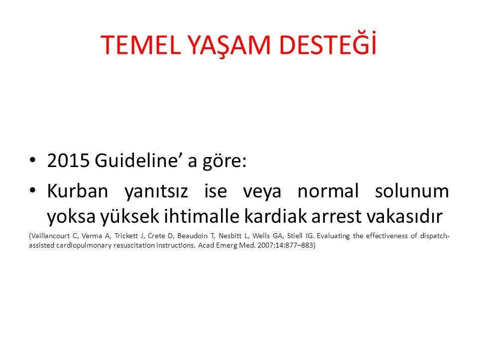 TEMEL YAŞAM DESTEĞİ 2015 Guideline' a göre: Kurban yanıtsız ise veya normal solunum yoksa yüksek ihtimalle kardiak arrest vakasıdır (Vaillancourt C, V