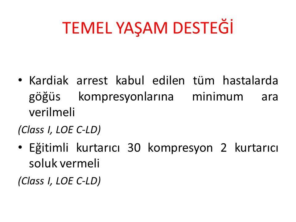 TEMEL YAŞAM DESTEĞİ Kardiak arrest kabul edilen tüm hastalarda göğüs kompresyonlarına minimum ara verilmeli (Class I, LOE C-LD) Eğitimli kurtarıcı 30