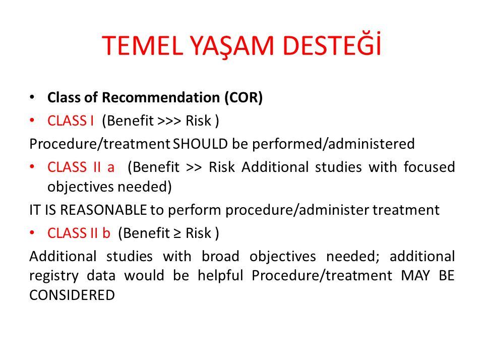TEMEL YAŞAM DESTEĞİ Class of Recommendation (COR) CLASS III No Benefit Procedure/test: Not helpful Treatment: No proven benefit CLASS III Harm Procedure/test: Excess cost without benefit or harmful Treatment: Harmful to patients
