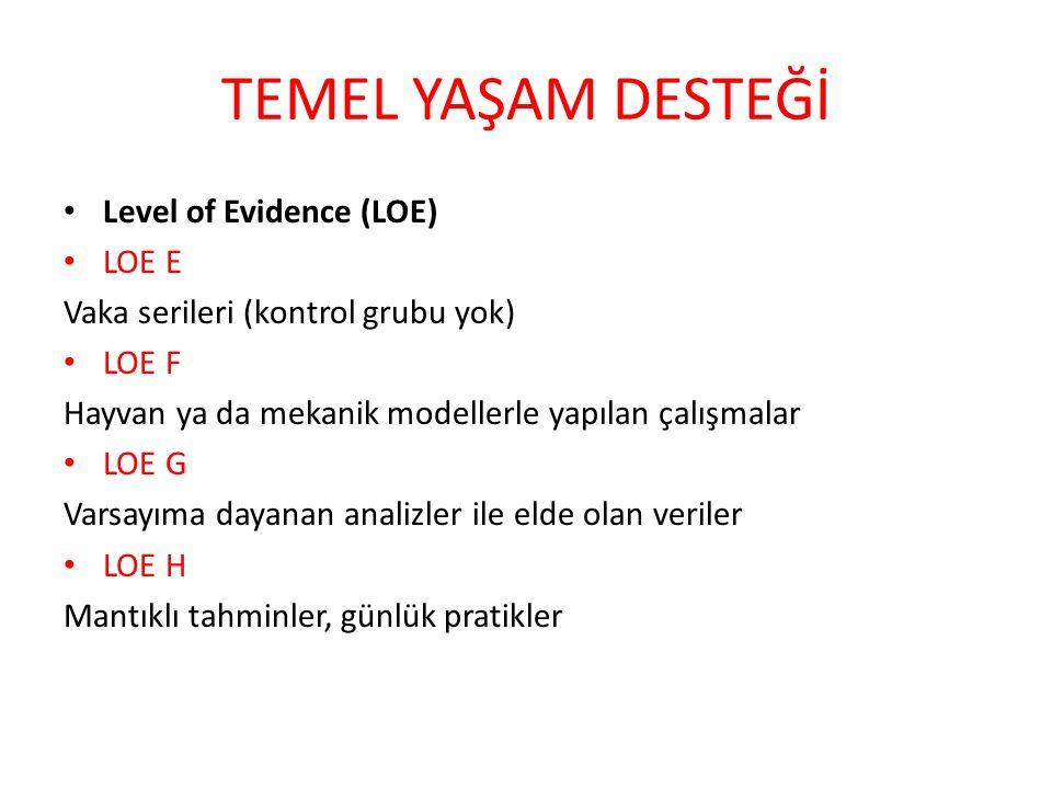 TEMEL YAŞAM DESTEĞİ Level of Evidence (LOE) LOE E Vaka serileri (kontrol grubu yok) LOE F Hayvan ya da mekanik modellerle yapılan çalışmalar LOE G Var