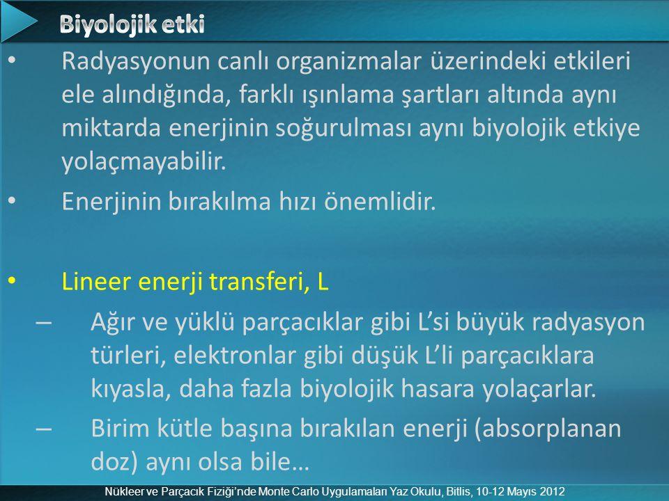 Nükleer ve Parçacık Fiziği'nde Monte Carlo Uygulamaları Yaz Okulu, Bitlis, 10-12 Mayıs 2012 Radyasyonun canlı organizmalar üzerindeki etkileri ele alı
