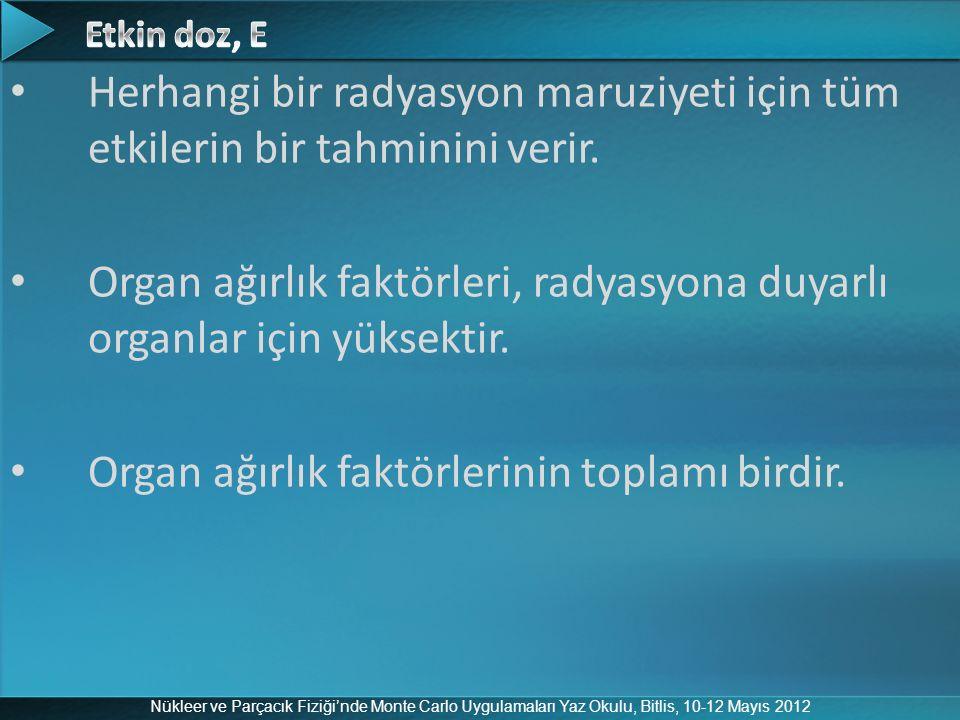 Nükleer ve Parçacık Fiziği'nde Monte Carlo Uygulamaları Yaz Okulu, Bitlis, 10-12 Mayıs 2012 Herhangi bir radyasyon maruziyeti için tüm etkilerin bir t