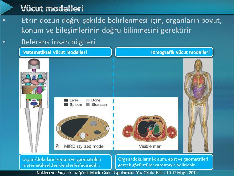 Nükleer ve Parçacık Fiziği'nde Monte Carlo Uygulamaları Yaz Okulu, Bitlis, 10-12 Mayıs 2012 Etkin dozun doğru şekilde belirlenmesi için, organların bo