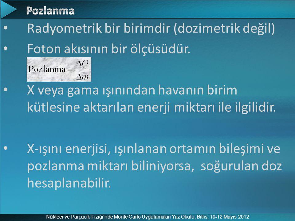 Nükleer ve Parçacık Fiziği'nde Monte Carlo Uygulamaları Yaz Okulu, Bitlis, 10-12 Mayıs 2012 Radyometrik bir birimdir (dozimetrik değil) Foton akısının