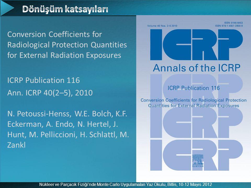 Nükleer ve Parçacık Fiziği'nde Monte Carlo Uygulamaları Yaz Okulu, Bitlis, 10-12 Mayıs 2012 Conversion Coefficients for Radiological Protection Quanti