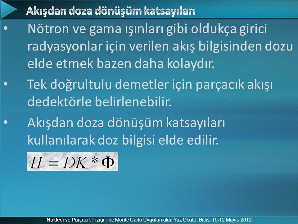 Nükleer ve Parçacık Fiziği'nde Monte Carlo Uygulamaları Yaz Okulu, Bitlis, 10-12 Mayıs 2012 Nötron ve gama ışınları gibi oldukça girici radyasyonlar i