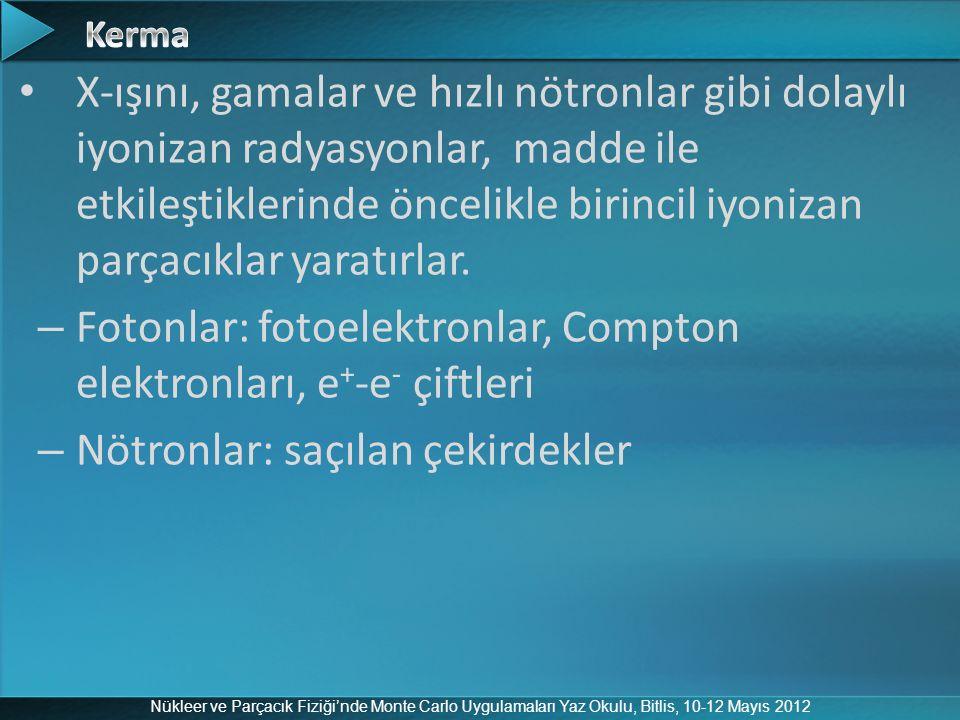 Nükleer ve Parçacık Fiziği'nde Monte Carlo Uygulamaları Yaz Okulu, Bitlis, 10-12 Mayıs 2012 X-ışını, gamalar ve hızlı nötronlar gibi dolaylı iyonizan