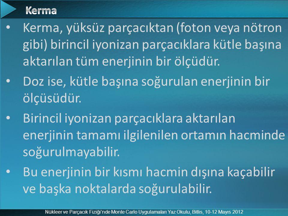 Nükleer ve Parçacık Fiziği'nde Monte Carlo Uygulamaları Yaz Okulu, Bitlis, 10-12 Mayıs 2012 Kerma, yüksüz parçacıktan (foton veya nötron gibi) birinci