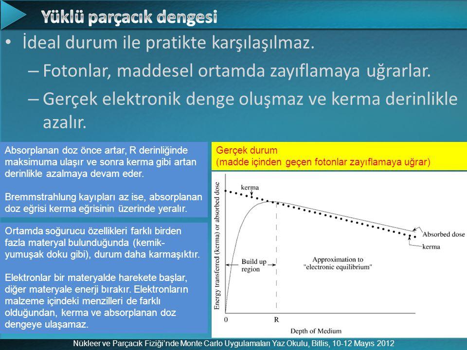Nükleer ve Parçacık Fiziği'nde Monte Carlo Uygulamaları Yaz Okulu, Bitlis, 10-12 Mayıs 2012 İdeal durum ile pratikte karşılaşılmaz. – Fotonlar, maddes