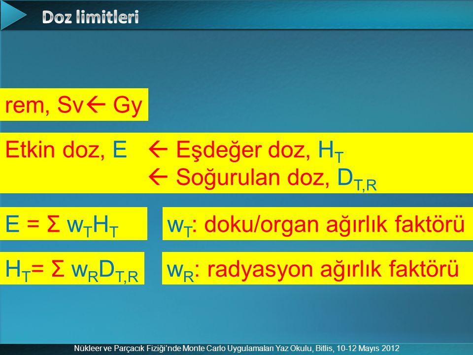 Nükleer ve Parçacık Fiziği'nde Monte Carlo Uygulamaları Yaz Okulu, Bitlis, 10-12 Mayıs 2012 rem, Sv  Gy E = Σ w T H T Etkin doz, E  Eşdeğer doz, H T