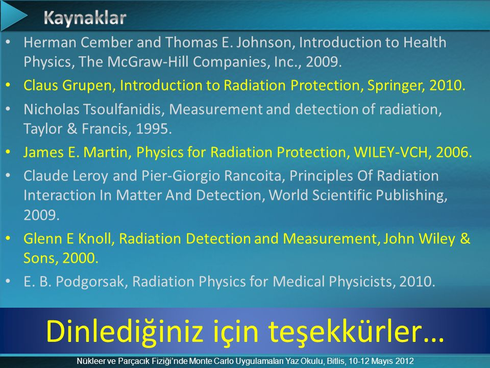 Herman Cember and Thomas E. Johnson, Introduction to Health Physics, The McGraw-Hill Companies, Inc., 2009. Claus Grupen, Introduction to Radiation Pr